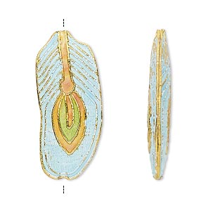 bead, cloisonne, enamel and gold-finished copper, light blue / green / orange, 32x14mm feather. sold per pkg of 4.