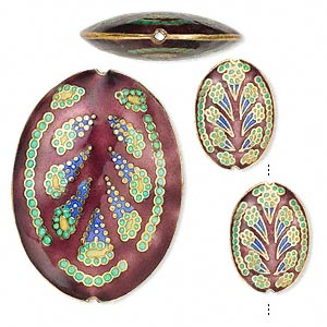 bead, cloisonne, enamel and gold-finished, copper, multicolored, 24x17mm 50x36mm puffed oval with abstract design. sold per 3-piece set.