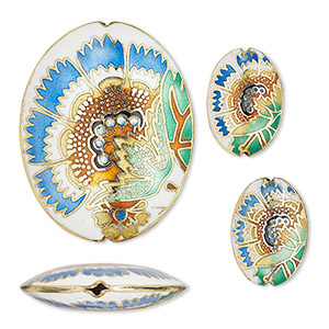 bead, cloisonne, enamel and gold-finished copper, multicolored, 24x17mm 50x40mm puffed oval with flower design. sold per 3-piece set.