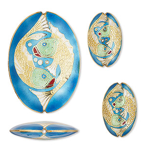 bead, cloisonne, enamel and gold-finished copper, multicolored, 30x19mm and 57x40mm puffed oval with double fish design. sold per 3-piece set.