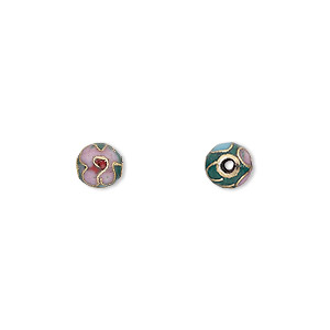 bead, cloisonne, enamel and gold-finished copper, pink / red / green, 6mm round with flower design. sold per pkg of 10.