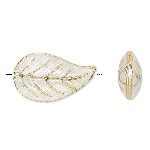 bead, cloisonne, enamel and gold-finished copper, white, 27x16mm double-sided leaf. sold per pkg of 4.