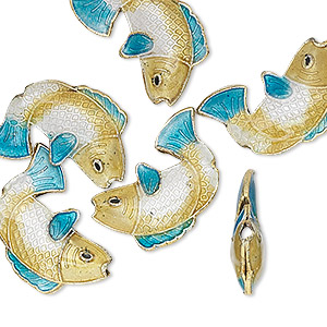 bead, cloisonne, gold-finished brass and enamel, gold/white/blue, 18x14mm fish. sold per pkg of 6.