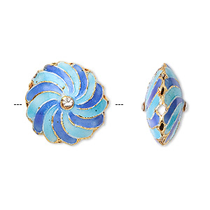 bead, cloisonne, medium and light blue, 17mm saucer with spiral. sold per pkg of 2.