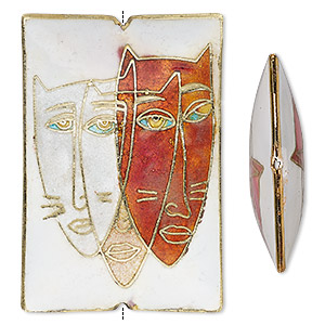 bead, cloisonne, multicolored, 60x40mm double-sided rectangle with cat face design. sold individually.
