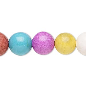 bead, coated ceramic, multicolored, 11-13mm round. sold per 8-inch strand.