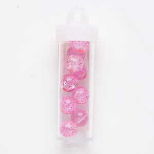 bead, coated crackle glass, translucent fuchsia, 9-10mm round. sold per 13-gram vial, approximately 10 beads.