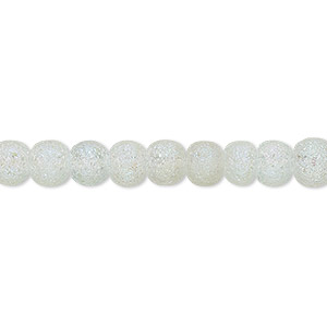 bead, coated glass, translucent matte clear ab, 5-6mm uneven round. sold per 16-inch strand.