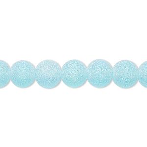 bead, coated glass, translucent matte turquoise blue ab, 7-8mm uneven round. sold per 16-inch strand.