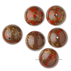 bead, coated vintage japanese acrylic, opaque brown / red / tan, 22mm round with speckles. sold per pkg of 6.