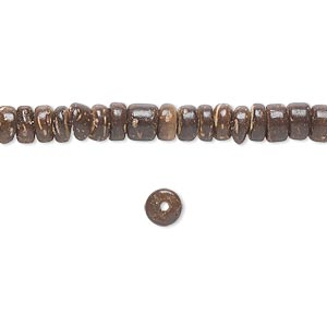 bead, coconut palm wood (coated), dark brown, 5x3mm rondelle. sold per pkg of (4) 16-inch strands.