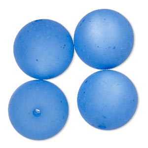 bead, cool frost resin beads™, resin, frosted matte blue, 18mm round. sold per pkg of 4.