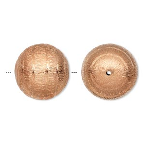 bead, copper, 20mm brushed round with swirl design. sold per pkg of 2.