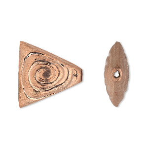 bead, copper, 20x20x19mm double-sided brushed puffed triangle with spiral design. sold per pkg of 4.