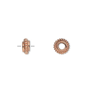 bead, copper, 7x4mm corrugated rondelle with 3mm hole. sold per pkg of 20.