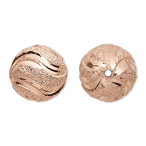 bead, copper-plated brass, 18mm diamond-cut stardust round. sold per pkg of 2.