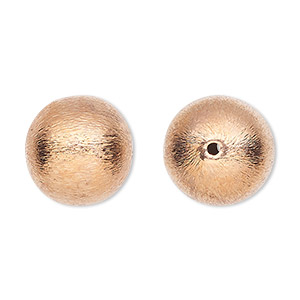 bead, copper-plated copper, 16mm brushed round. sold per pkg of 4.