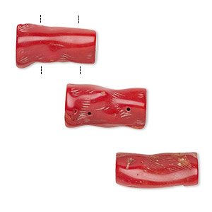 bead, coral (dyed), red, 30x8mm-58x15mm hand-cut double-drilled branch, mohs hardness 3-1/2 to 4. sold individually.