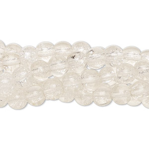 bead, crackle glass, clear, 5-6mm round. sold per pkg of five 15-inch strands.
