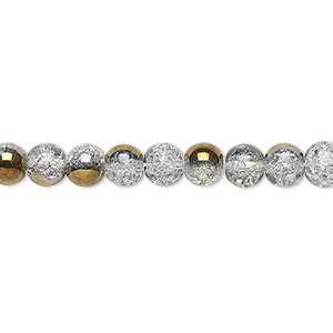 bead, crackle glass, clear with half-coat bronze, 5-6mm round. sold per 15-inch strand.