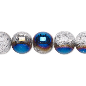 bead, crackle glass, clear with half-coat iris blue, 11-12mm round. sold per 15-inch strand.