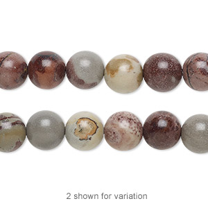 bead, crazy horse™ stone (natural), 8mm round with 0.5-1.5mm hole, b grade, mohs hardness 3-1/2 to 4. sold per 16-inch strand.