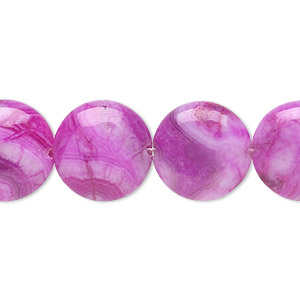 bead, crazy lace agate (dyed), fuchsia, 16mm puffed flat round, b grade, mohs hardness 6-1/2 to 7. sold per 8-inch strand, approximately 10 beads.