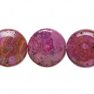 bead, crazy lace agate (dyed), fuchsia, 18mm puffed flat round, b grade, mohs hardness 6-1/2 to 7. sold per 16-inch strand.