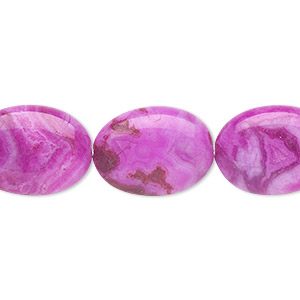 bead, crazy lace agate (dyed), fuchsia, 18x13mm oval, b grade, mohs hardness 6-1/2 to 7. sold per 16-inch strand.
