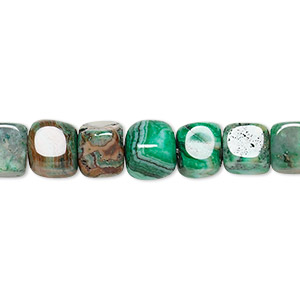 bead, crazy lace agate (dyed), green, 7x6mm-8x7mm cube, b grade, mohs hardness 6-1/2 to 7. sold per 16-inch strand.