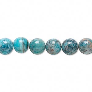 bead, crazy lace agate (dyed), light to dark blue, 8mm round, b grade, mohs hardness 6-1/2 to 7. sold per 16-inch strand.