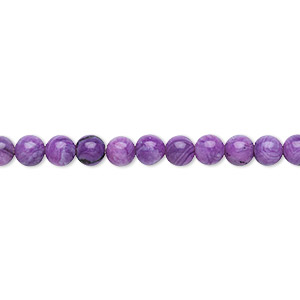 bead, crazy lace agate (dyed), purple, 4mm round, b grade, mohs hardness 6-1/2 to 7. sold per 16-inch strand.