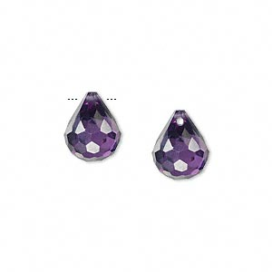 bead, cubic zirconia, amethyst purple, 11x9mm top-drilled faceted teardrop, mohs hardness 8-1/2. sold per pkg of 2.