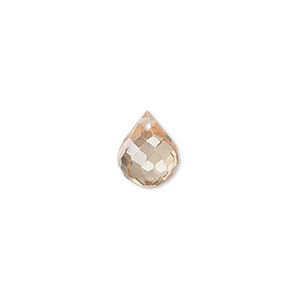 bead, cubic zirconia, champagne, 11x9mm top-drilled faceted teardrop, mohs hardness 8-1/2. sold per pkg of 2.