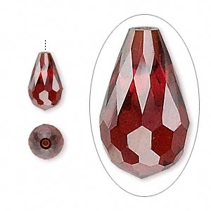 bead, cubic zirconia, garnet red, 12x7mm half-drilled faceted teardrop, mohs hardness 8-1/2. sold individually.