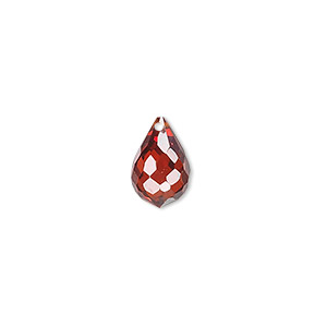 bead, cubic zirconia, garnet red, 12x8mm top-drilled faceted teardrop, mohs hardness 8-1/2. sold per pkg of 2.