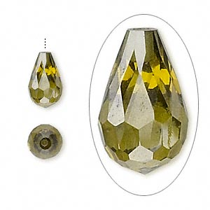 bead, cubic zirconia, olive green, 12x7mm half-drilled faceted teardrop, mohs hardness 8-1/2. sold individually.