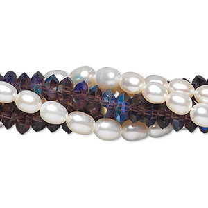 bead, cultured freshwater pearl (bleached) and crystal, white / purple / purple ab, 4-5mm rice and 6x3mm disc, c grade, mohs hardness 2-1/2 to 4. sold per pkg of (5) 14-inch strands.