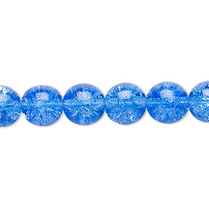 bead, czech crackle glass druk, blue, 10mm round. sold per 16-inch strand, approximately 40 beads.