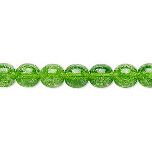 bead, czech crackle glass druk, green, 8mm round. sold per 16-inch strand, approximately 50 beads.