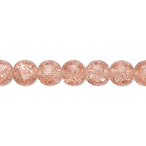 bead, czech crackle glass druk, pink, 8mm round with 0.8-1.3mm hole. sold per 16-inch strand, approximately 50 beads.