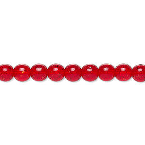 bead, czech crackle glass druk, ruby red, 6mm round. sold per 16-inch strand, approximately 65 beads.