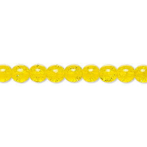 bead, czech crackle glass druk, yellow, 6mm round. sold per 16-inch strand, approximately 65 beads.
