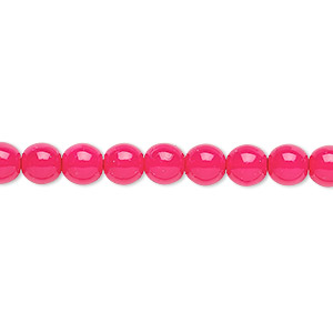 bead, czech dipped decor glass druk, fuchsia, 6mm round. sold per 16-inch strand.