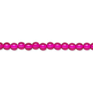 bead, czech dipped decor glass druk, hot pink, 4mm round. sold per 16-inch strand.
