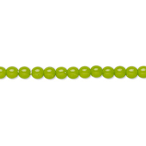 bead, czech dipped decor glass druk, lime green, 4mm round. sold per 16-inch strand.