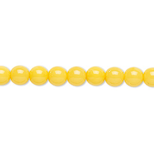 bead, czech dipped decor glass druk, yellow, 6mm round. sold per 16-inch strand.