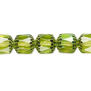 bead, czech dipped decor glass, lime green apollo ab, 10mm round cathedral. sold per 16-inch strand.