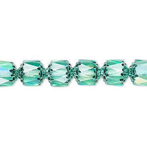 bead, czech dipped decor glass, teal apollo ab, 8mm round cathedral. sold per 16-inch strand.