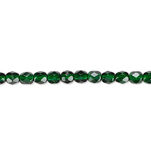 bead, czech fire-polished dipped decor glass, emerald green, 4mm faceted round. sold per 16-inch strand, approximately 100 beads.